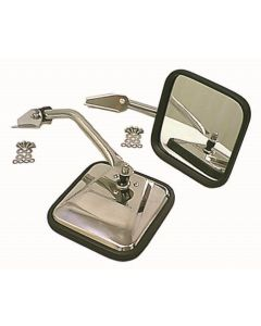 CJ-Style Side Mirror Kit, Chrome; 55-86 CJ Models