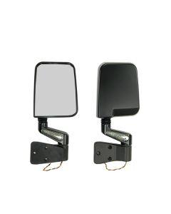 Door Mirror Kit LED Turn Signals Blk; 87-02 Wrangle