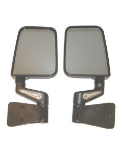 Heated Door Mirror Kit LED Signals Blk; 87-02 Wrang