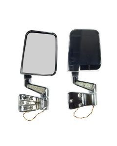 Door Mirror Kit LED Turn Signal Chrome; 87-02 YJ TJ