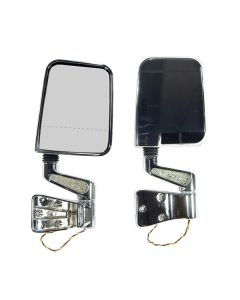 Door Mirror Kit LED Signal Dual Focus Chrome; 87-02