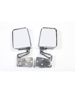 Door Mirror Kit Dual Focus Chrome; 87-02 Wrangler