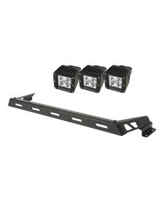 Hood Light Bar Kit, Text. Blk, 3 Sq. LED, 07-18 JK