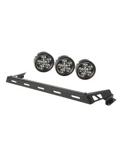 Hood Light Bar Kit, Text. Blk, 3 Rnd LED, 07-18 JK