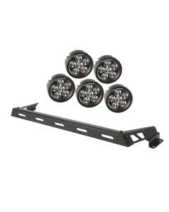 Hood Light Bar Kit, Text. Blk, 5 Rnd LED, 07-18 JK