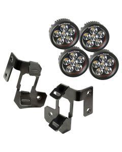 A-Pillar Light Mnt Kit, Semi Blk, Rd LED, 07-18 JK