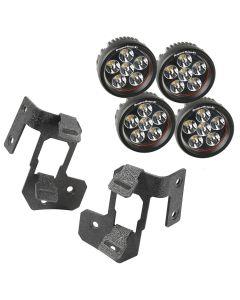 A-Pillar Light Mnt Kit, Text Blk, Rd LED, 07-18 JK