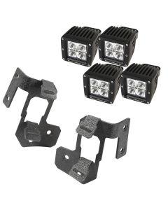 A-Pillar Light Mnt Kit, Text Blk, Sq LED, 07-18 JK