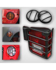 Euro Guard Light Kit, 10-Piece,Blk, 07-18 Wrangler