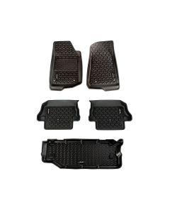 Floor Liner Kit, Blk, F/R/Short Cargo; 18-19 JL 2Dr