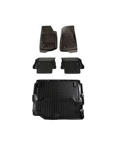 Floor Liner Kit, Blk, F/R/Full Cargo; 18-19 JL 2Dr