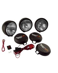 6-In Round HID Light Kit, 3-Pcs, Blk Steel Housing
