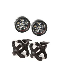Large X-Clamp & Round LED Light Kit, Black, 2-Pc.