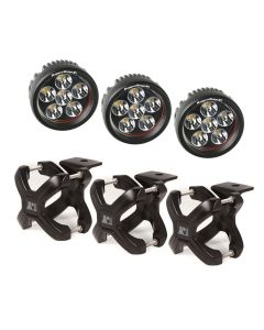 Large X-Clamp & Round LED Light Kit, Black, 3-Pc.