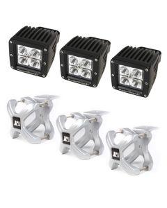 Large X-Clamp & Square LED Light Kit, Silver, 3-Pc