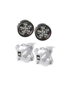 Large X-Clamp & Round LED Light Kit, Silver, 2-Pc.