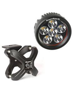 Small X-Clamp & Round LED Light Kit, Text. Black