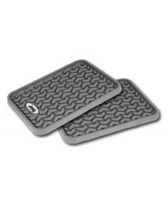 Floor Liner, Rear; Gray, Universal Jeep Logo
