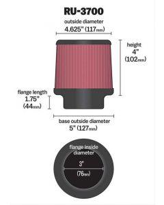 K&N RU-3700 Universal Clamp-On Air Filter